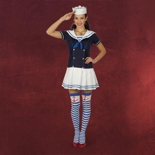 sailor girl kost m matrosen minikleid damen kost m seemann frau karneval ebay. Black Bedroom Furniture Sets. Home Design Ideas