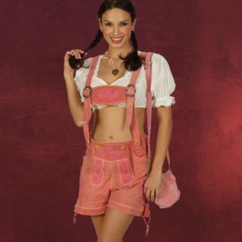 Damen Trachtenlederhose Hot Pant rosa