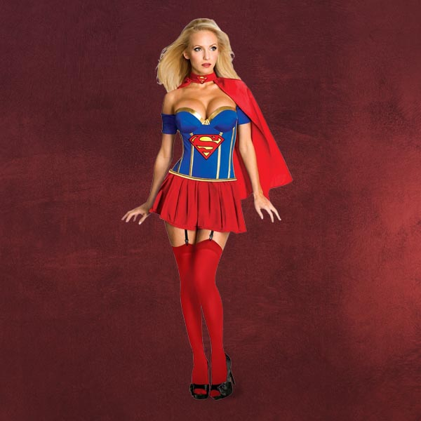 sexy supergirl korsett damen kost m aus superman rock. Black Bedroom Furniture Sets. Home Design Ideas
