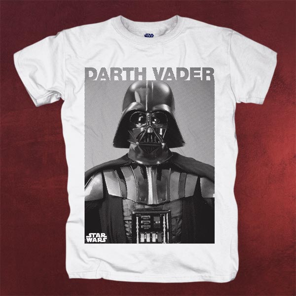 star wars darth vader photo t shirt herren wei mega. Black Bedroom Furniture Sets. Home Design Ideas