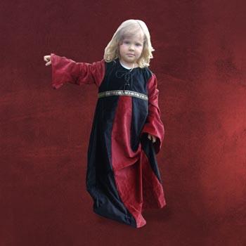 Mittelalterkleid f�r Kinder schwarz-rot