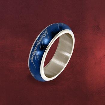Der Eine Ring - Rotierend, im Schmuckdisplay, blau