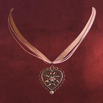 Herz Trachten-Collier, rosa