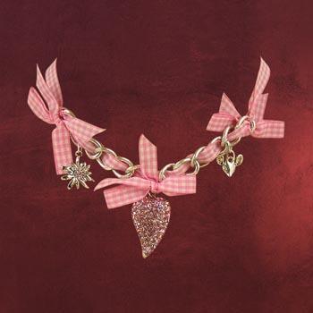 Herzfunkeln - Trachtenkette mit 3 Anh�ngern rosa