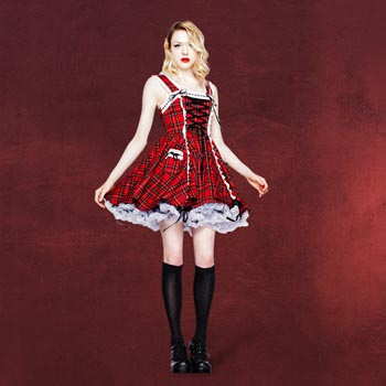 Schottin Kleid - Alexandra rot-schwarz