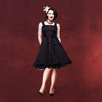 Rockabilly-Kleid Gery schwarz-rot