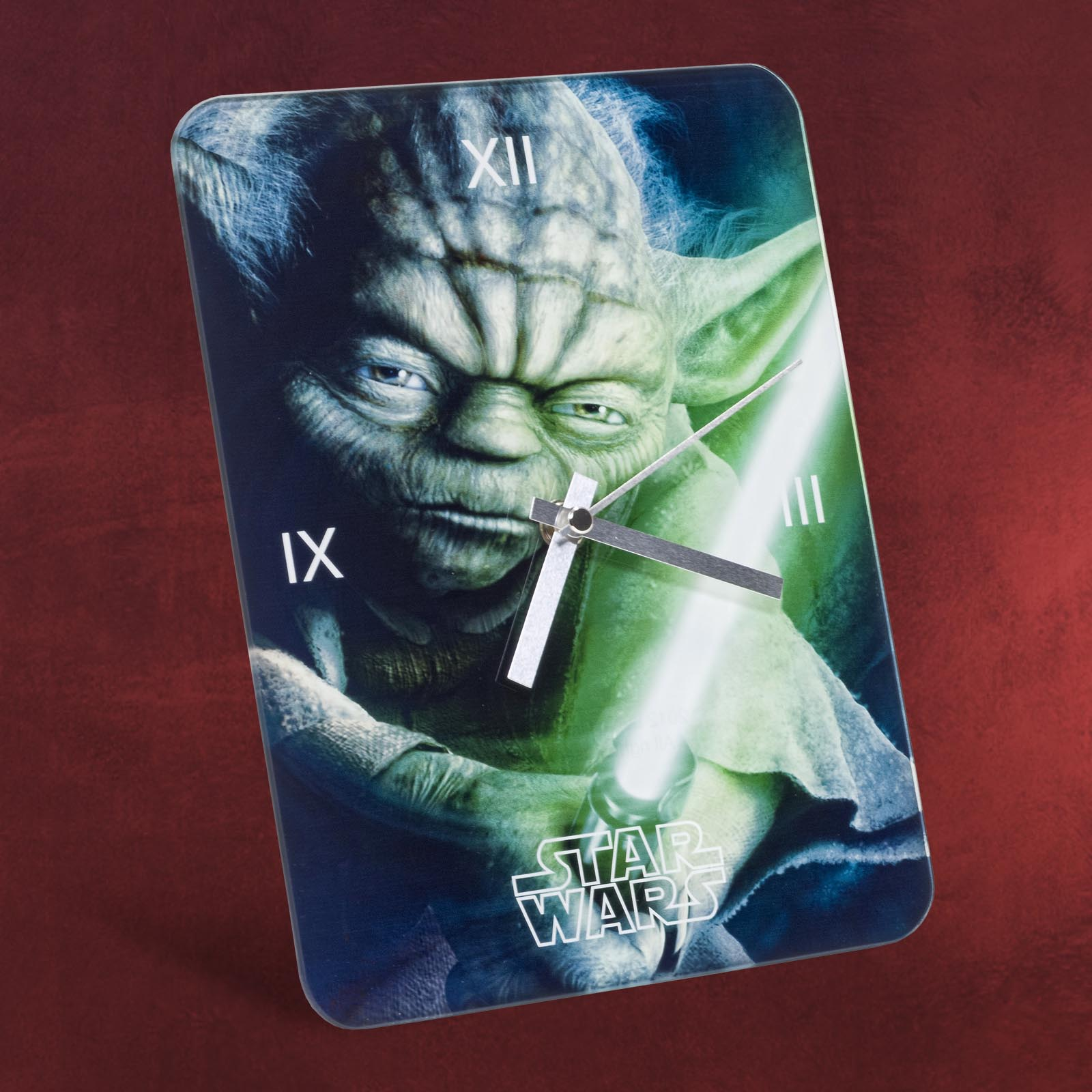 star wars yoda wanduhr aus glas blau gr n 24x18 cm. Black Bedroom Furniture Sets. Home Design Ideas