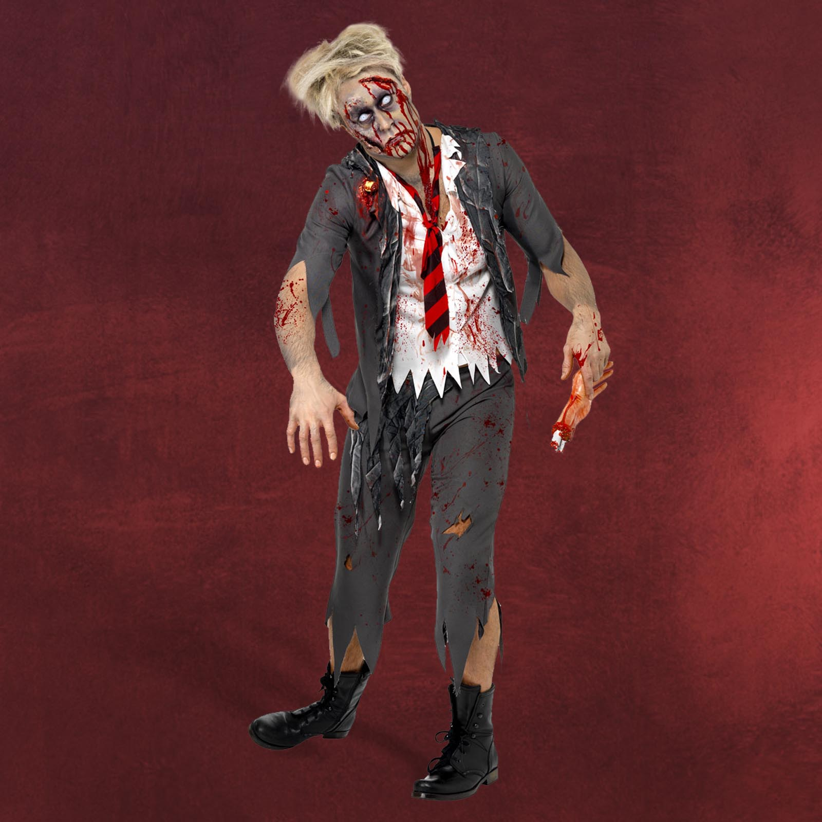 zombie kost m herren high school boy look f r halloween u karneval 3 teilig. Black Bedroom Furniture Sets. Home Design Ideas