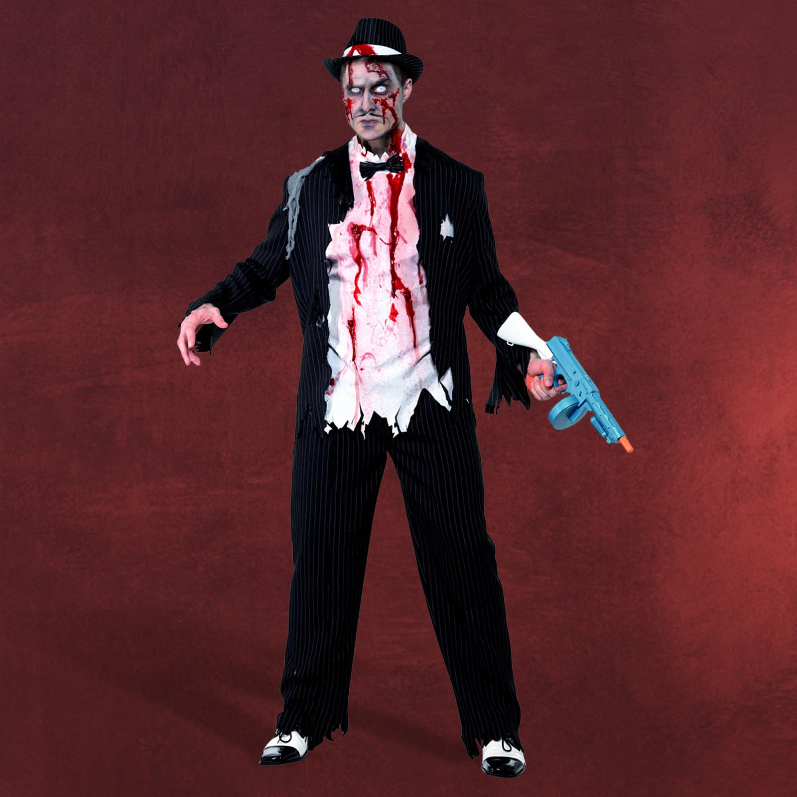 zombie gangster boss kost m halloween kost m herren 3 teilig jacke hose shirt ebay. Black Bedroom Furniture Sets. Home Design Ideas