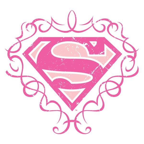 superman logo comic girlie shirt figurbetont rosa logo