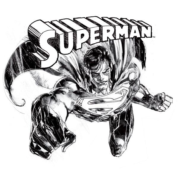 Superman Comic Style T-Shirt großer Hero Print S/W offiziell ...