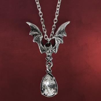Gothic Kette Fledermaus mit Kristall Tropfen