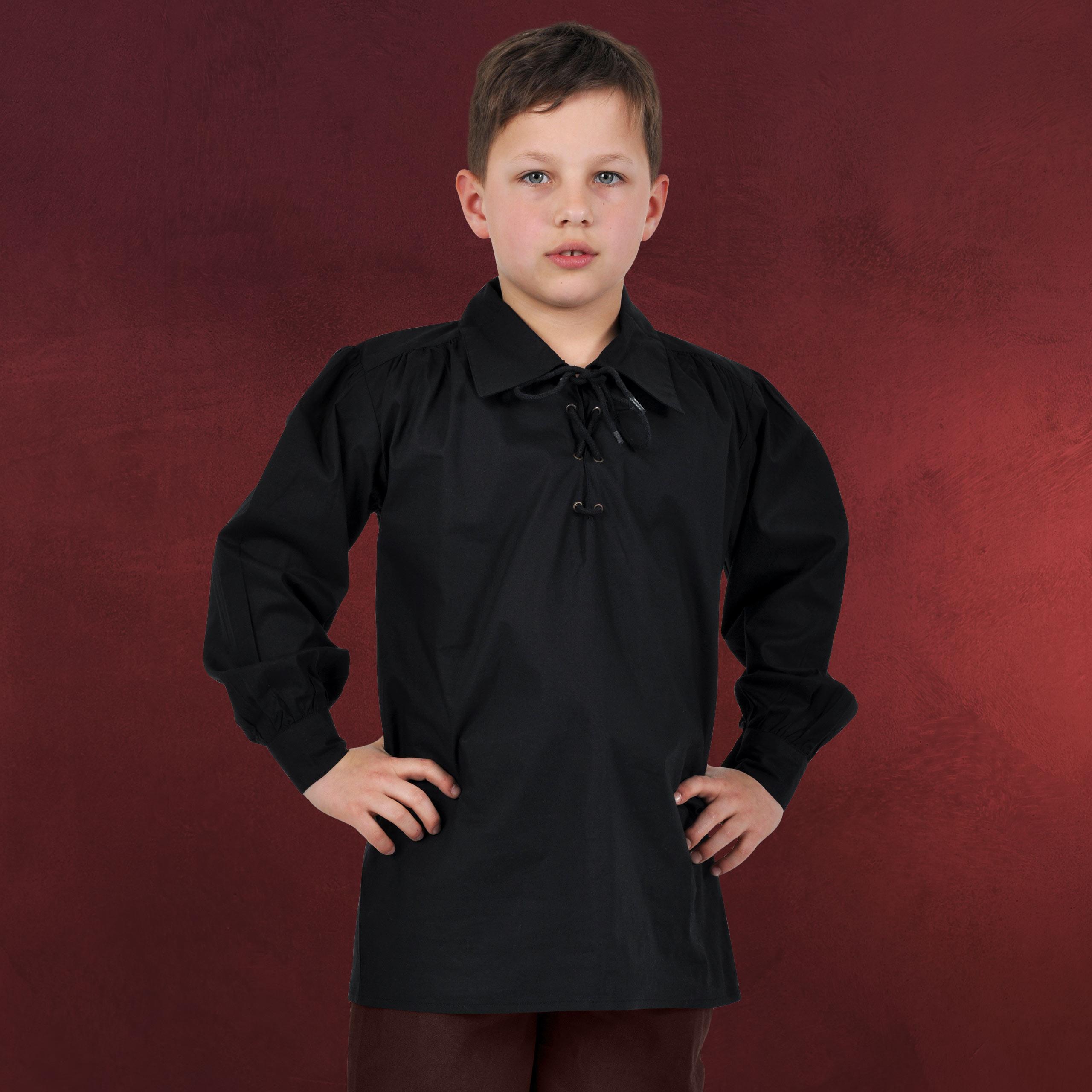 Mittelalter hemd für kinder schwarz baumwolle piraten ritter freizeit