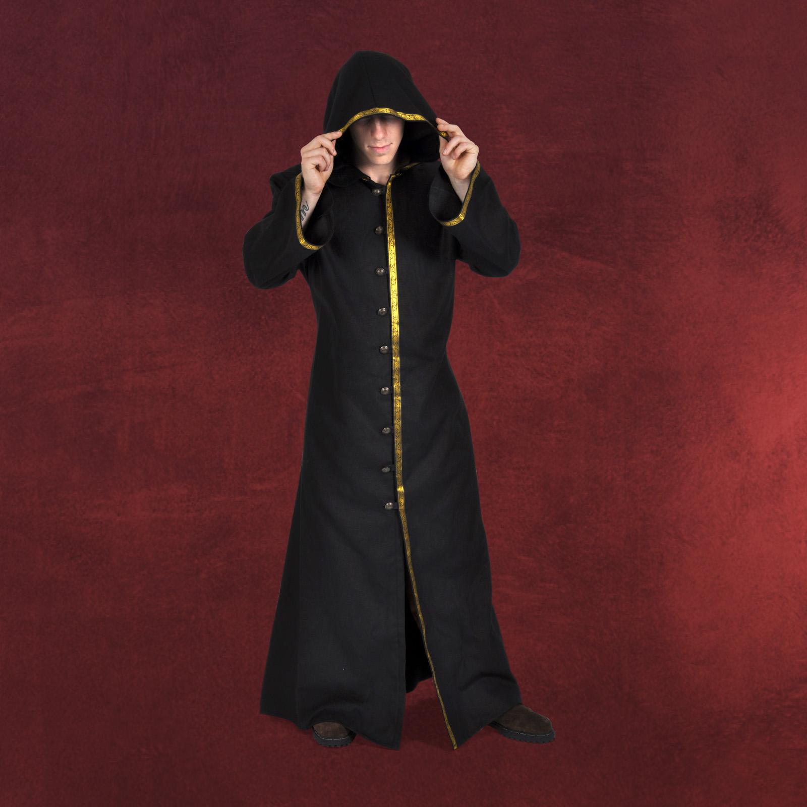 schwarzer lord mittelalter mantel herren gewand kost m. Black Bedroom Furniture Sets. Home Design Ideas