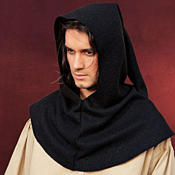 Mittelalter Gugel schwarz