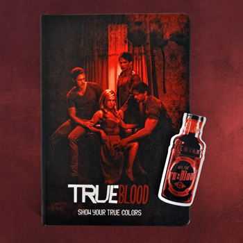 True Blood - Red Cover Notizbuch und Magnet Lesezeichen