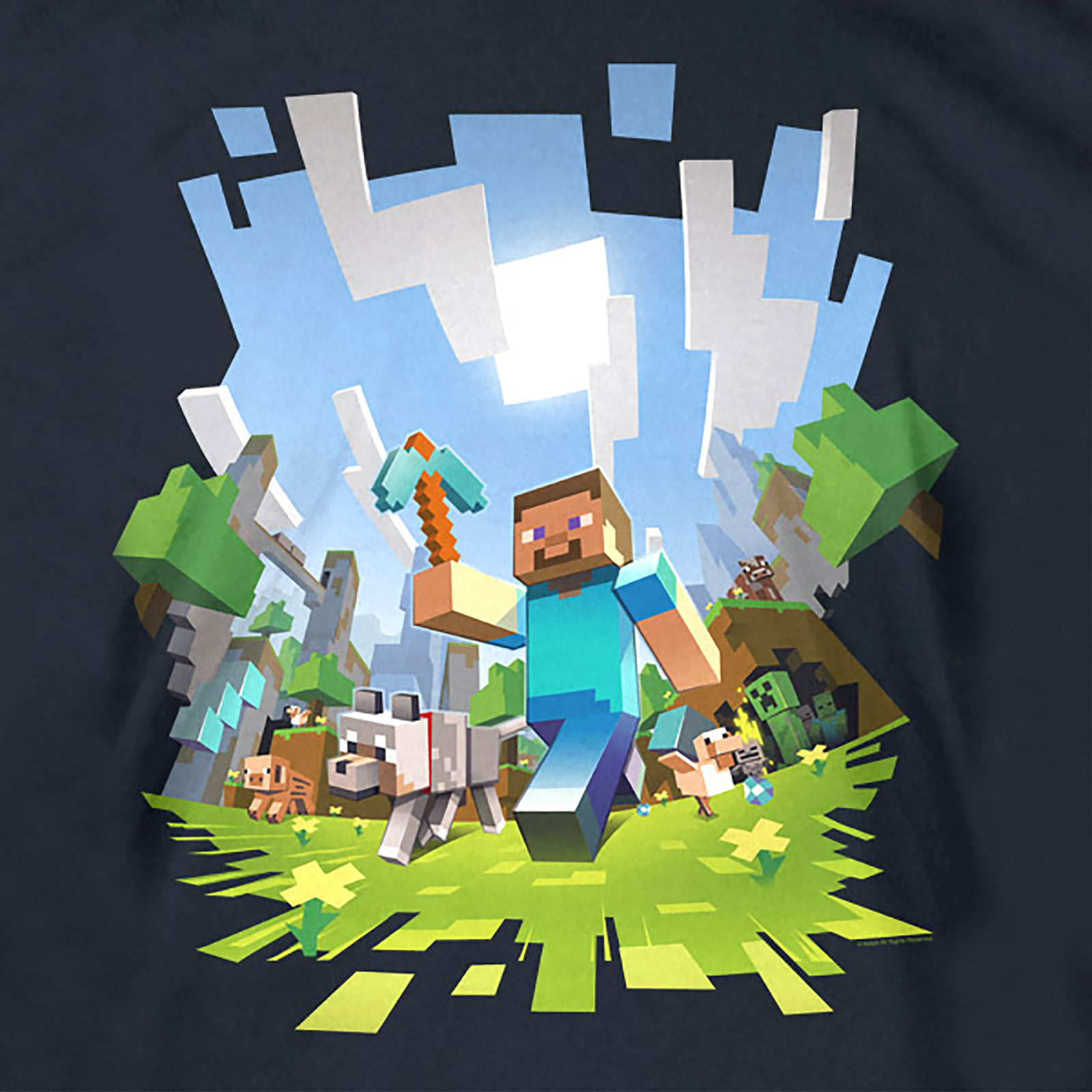 Minecraft kinder t shirt minen handwerk game retro open for Mine craft t shirt