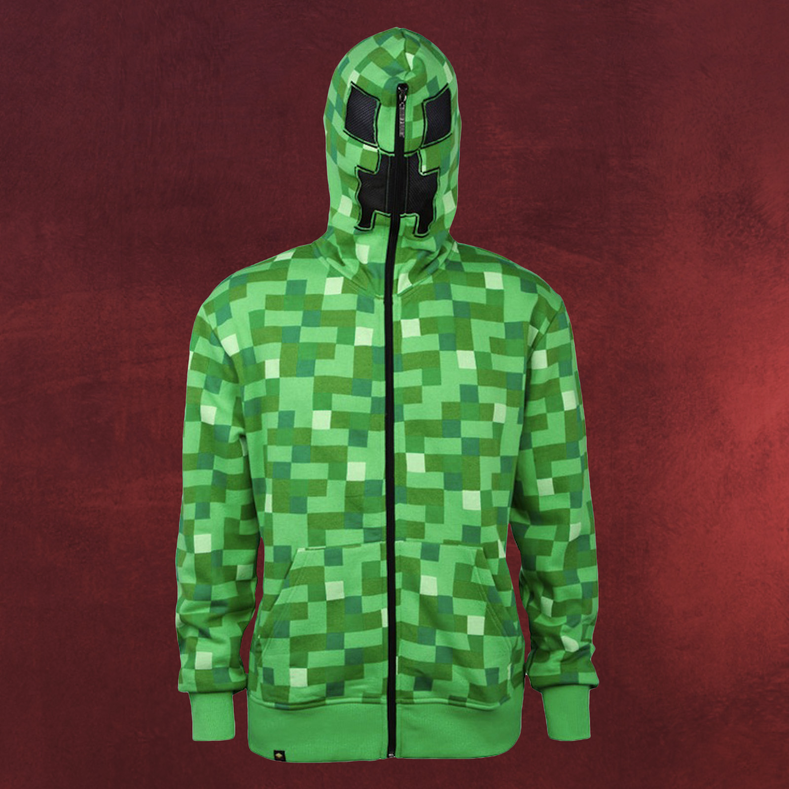 minecraft creeper zip up hoodie kapuzenjacke mit creeper. Black Bedroom Furniture Sets. Home Design Ideas