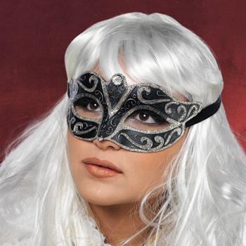 Augenmaske schwarz-silber