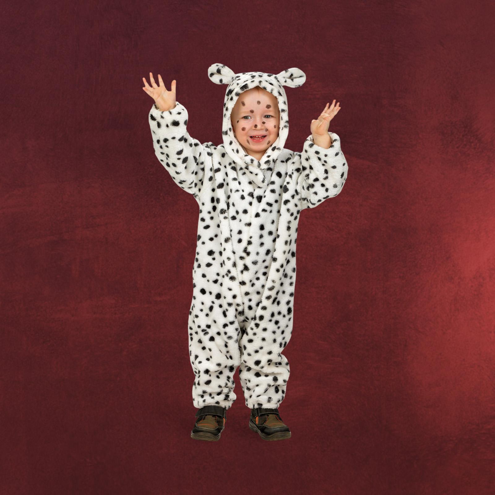 tier kost m kleinkind hund dalmatiner overall mit kapuze mit ohren wei schwarz ebay. Black Bedroom Furniture Sets. Home Design Ideas