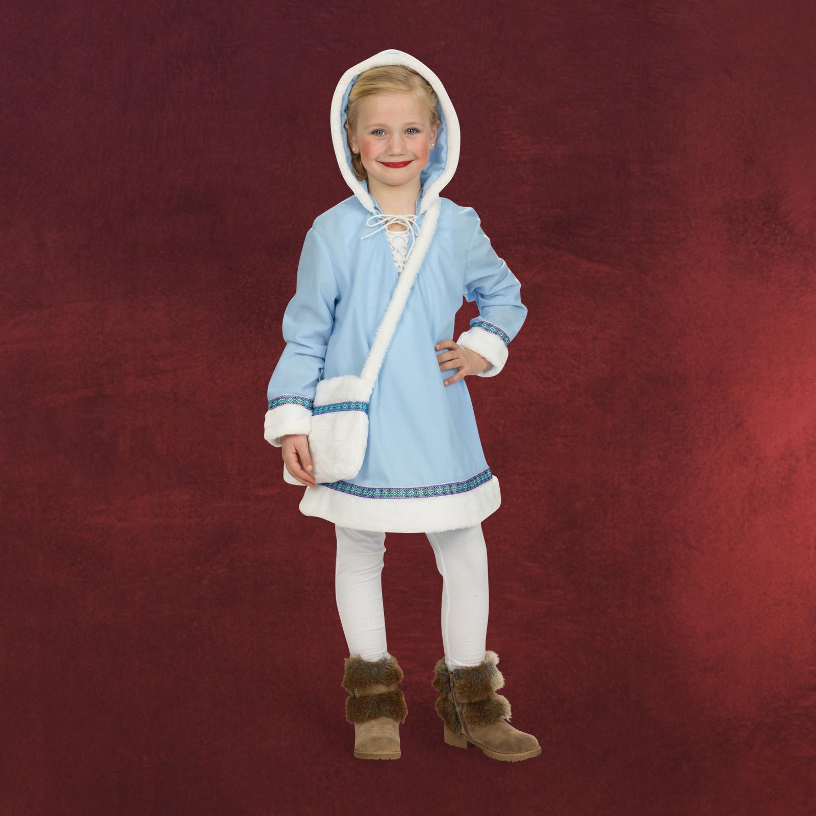 fasching kleid eskimo m dchen kost m m kapuze 128 152 karneval knielang ebay. Black Bedroom Furniture Sets. Home Design Ideas