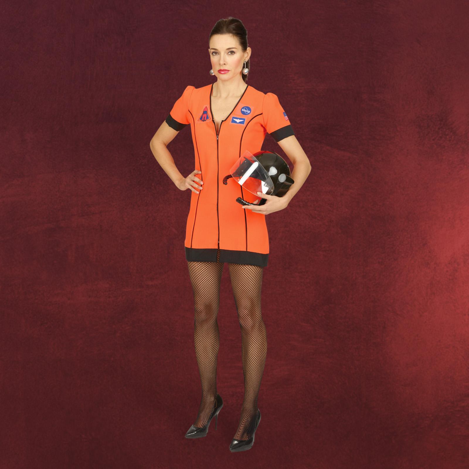 kostuem fasching astronautin raumfahrt karneval weltraum damen kleid mini orange ebay. Black Bedroom Furniture Sets. Home Design Ideas