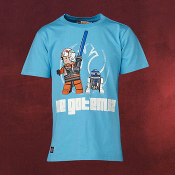 LEGO Star Wars - Luke Skywalker mit R2-D2 Kinder T-Shirt t�rkis