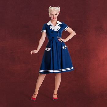 Rockabilly Seafarer Kleid navy