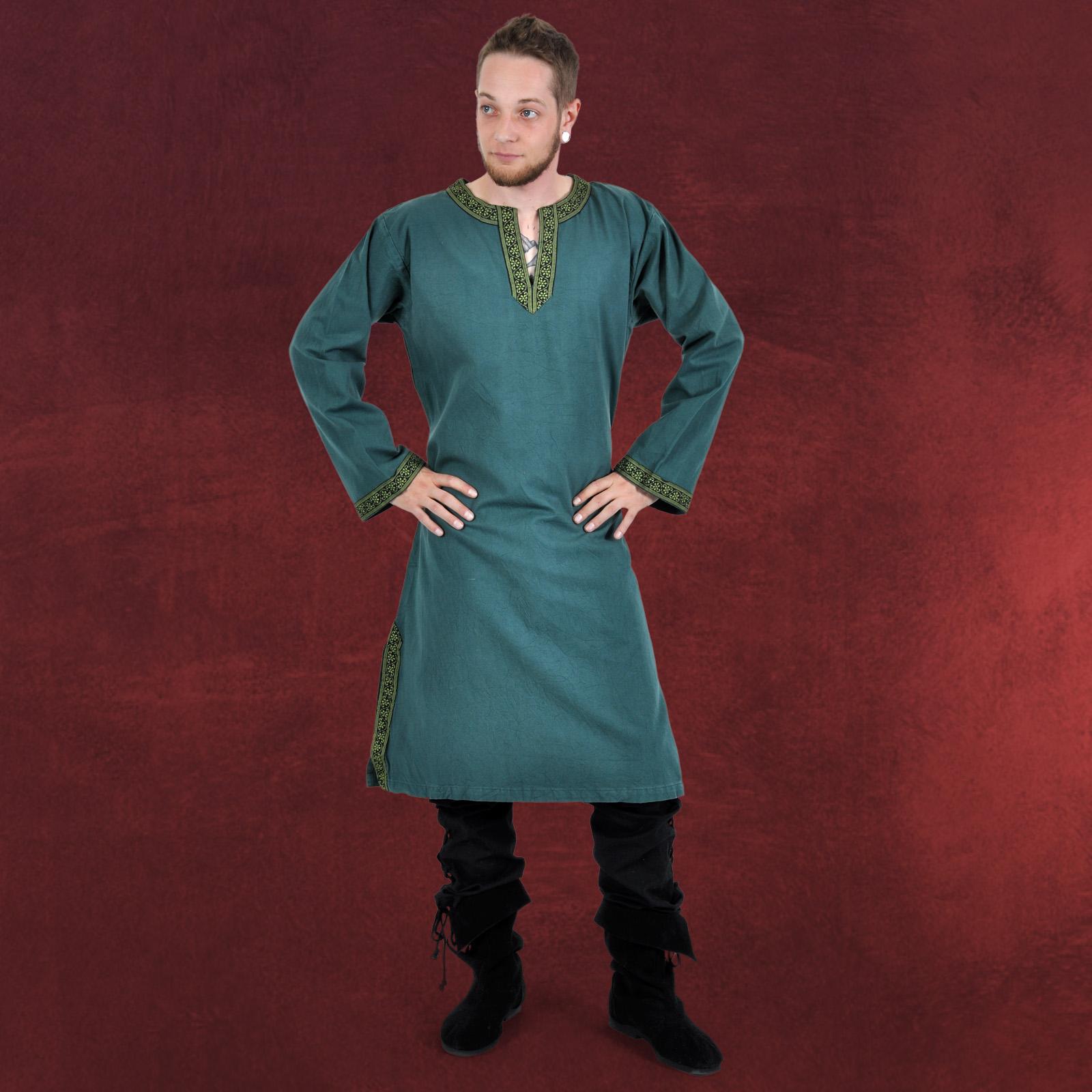Zu tunika giselbert mit bordüre grün mittelalter gewand herren hemd