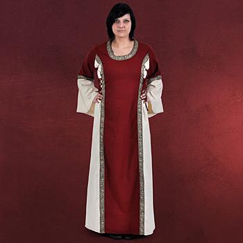 Mittelalter Kleid Tyra rot-natur