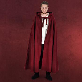 Mittelalter Umhang mit langer Kapuze rot