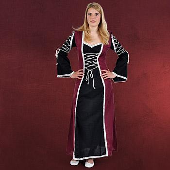 Mittelalter Kleid Magdalena schwarz-bordeaux