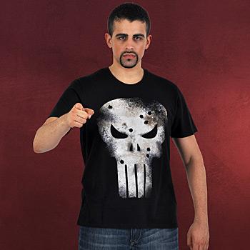 Punisher - Damaged Skull T-Shirt