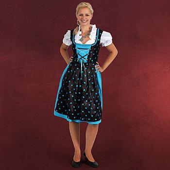 Dirndl Edelweiß - Trachtenkleid braun/ türkis mit Bluseneinsatz