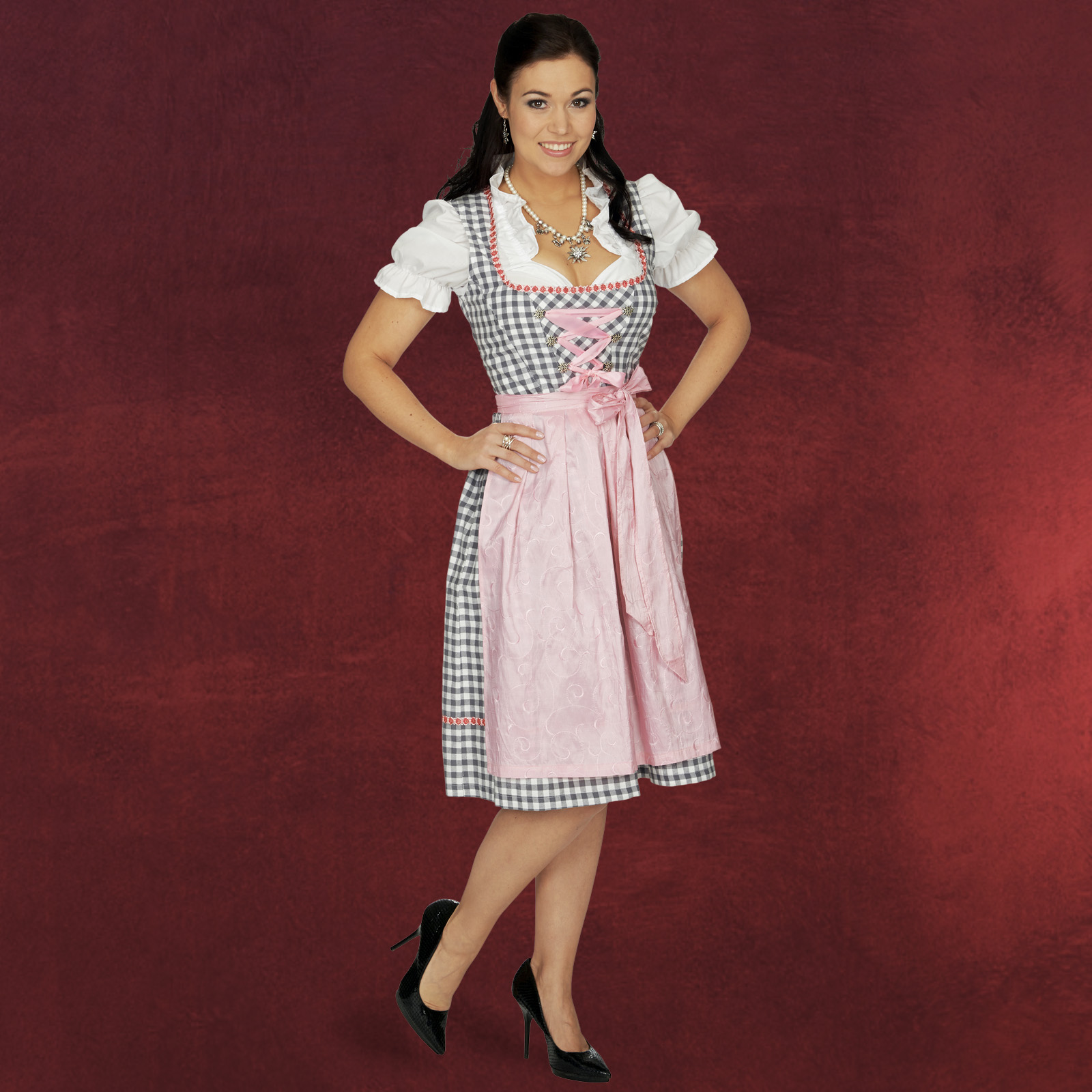 dirndl oktoberfest damen tracht kleid rosa knielang bluse. Black Bedroom Furniture Sets. Home Design Ideas