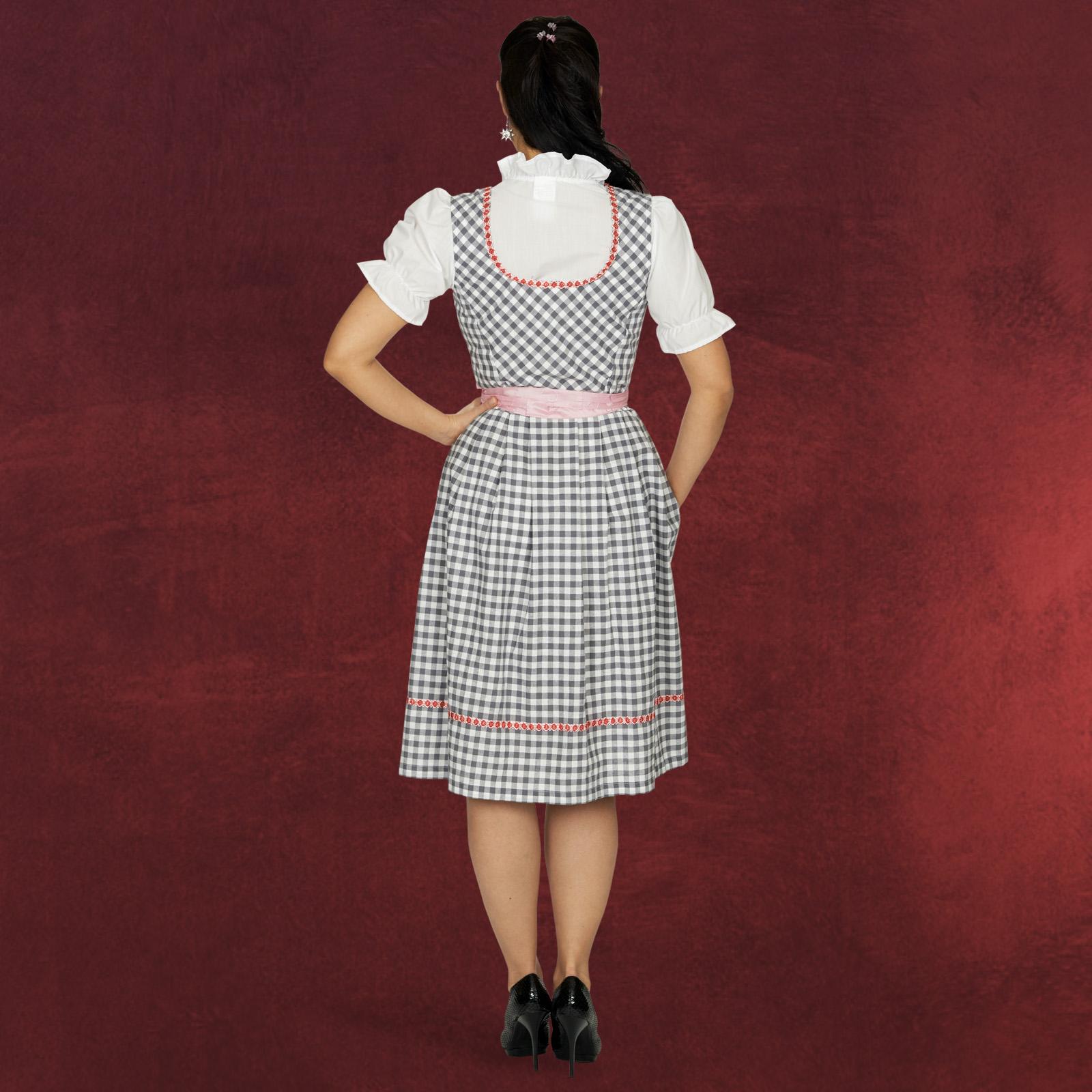 dirndl oktoberfest damen tracht kleid rosa knielang bluse wiesn edelwei kn pfe ebay. Black Bedroom Furniture Sets. Home Design Ideas