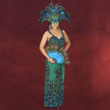 Pfauen-Kleid Kost�m Damen