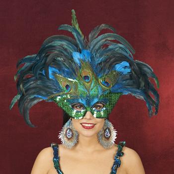 Pfauen-Maske Kostümzubehör