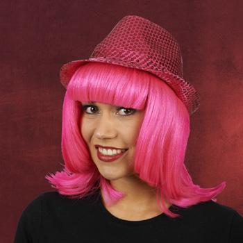 Paillettenhut Pink mit Perücke