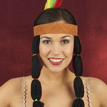 Indianer Stirnband mit Zöpfen