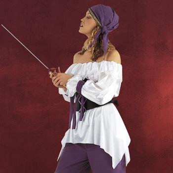Piratin Bluse mit Spitze