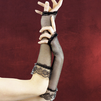 Netzhandschuhe schwarz mit Spitze