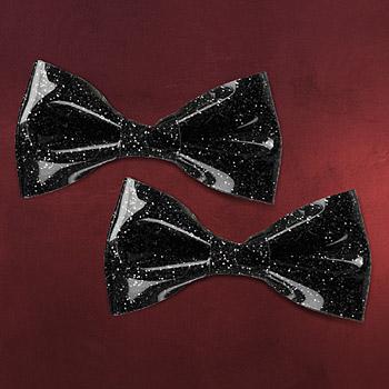 Rockabilly - Haarspangen Set Glitter Schleife schwarz