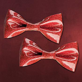 Rockabilly - Haarspangen Set Glitter Schleife rot