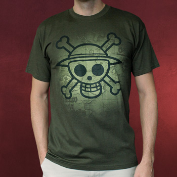 One Piece - Skull With Map T-Shirt khaki
