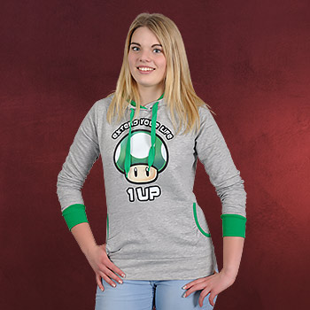 Super Mario - 1 UP Pilz Girlie Hoodie