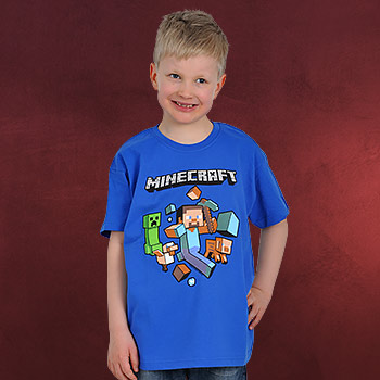 Minecraft - Run Away Kinder T-Shirt blau