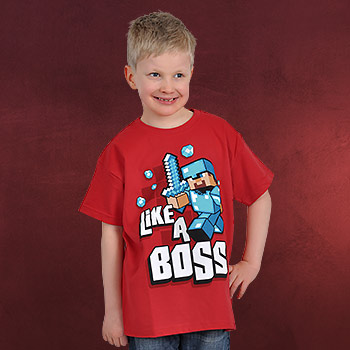 Minecraft - Like a Boss Kinder T-Shirt rot