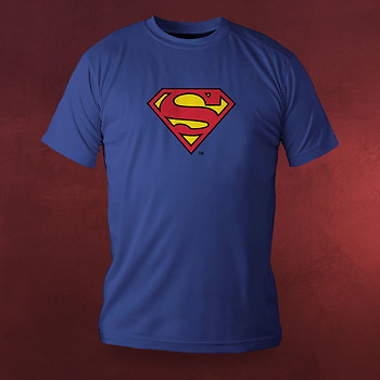 superman superhelden logo deluxe t shirt blau elbenwald. Black Bedroom Furniture Sets. Home Design Ideas