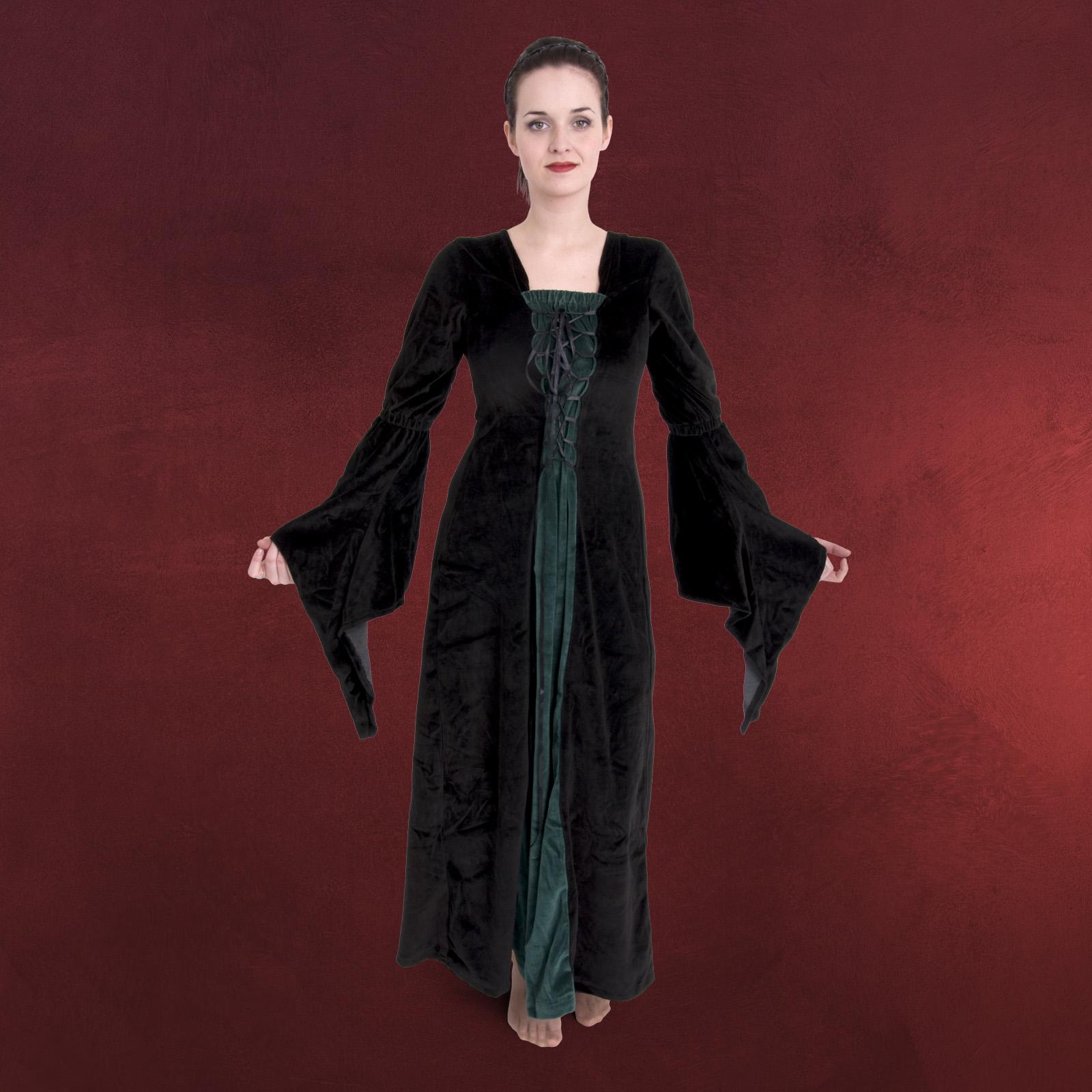 mittelalter kleid schwarz, grün, samt mit schnürung   ebay
